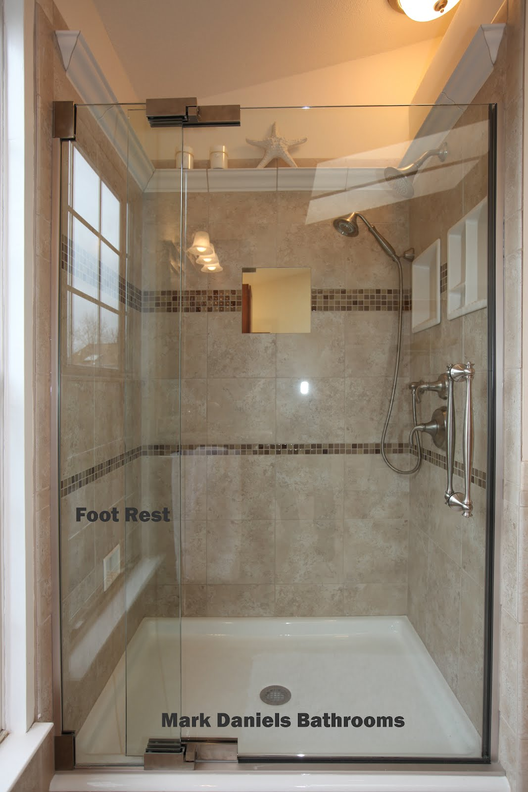 Bathroom remodeling design ideas tile shower niches shower shaving foot rests Shower tile layout