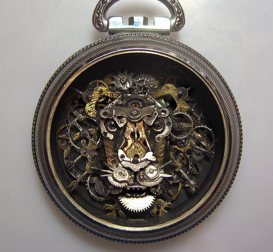 08-Lion-Head-Recycled-Watch-Sculptures-Steampunk-Susan-Beatrice-All-Natural-Arts-www-designstack-co