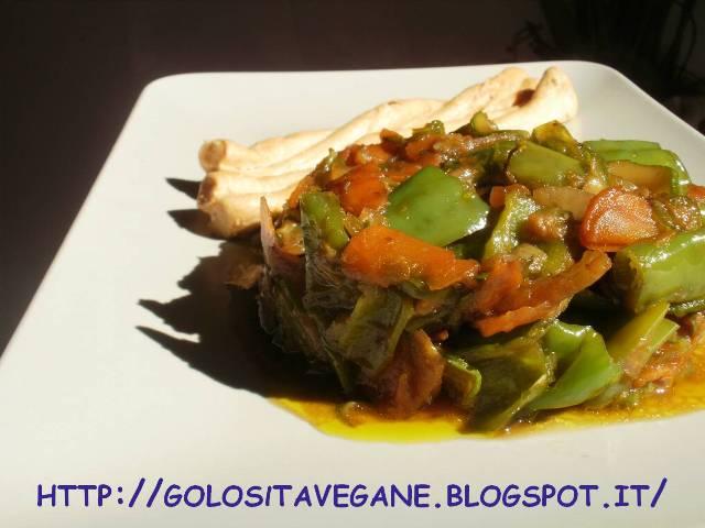 aglio, carote, cipolle, Contorni, friggitelli, noce moscata, ricette vegan, scalogno,