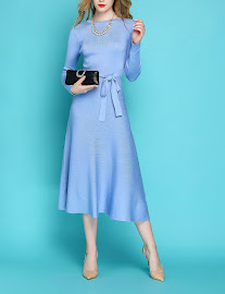 2017 Pink/Blue Long Sleeve Knit Flare Dress