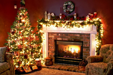 Christmas Tree And Fireplace Wallpaper on disney rocking chair