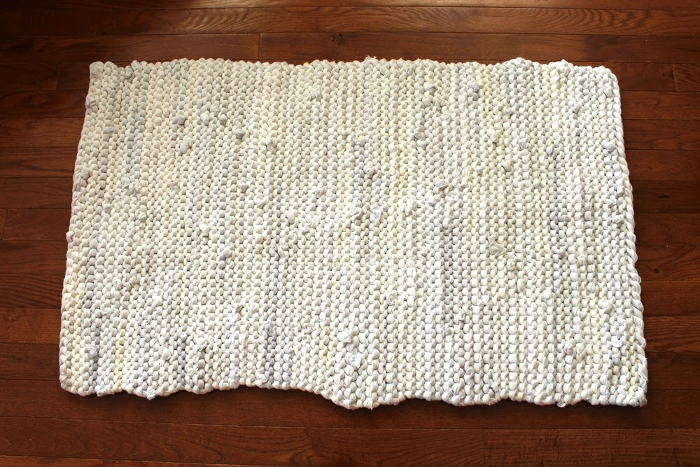 white tshirt rug cream upcycled cotton handmade by HandiworkinGirls