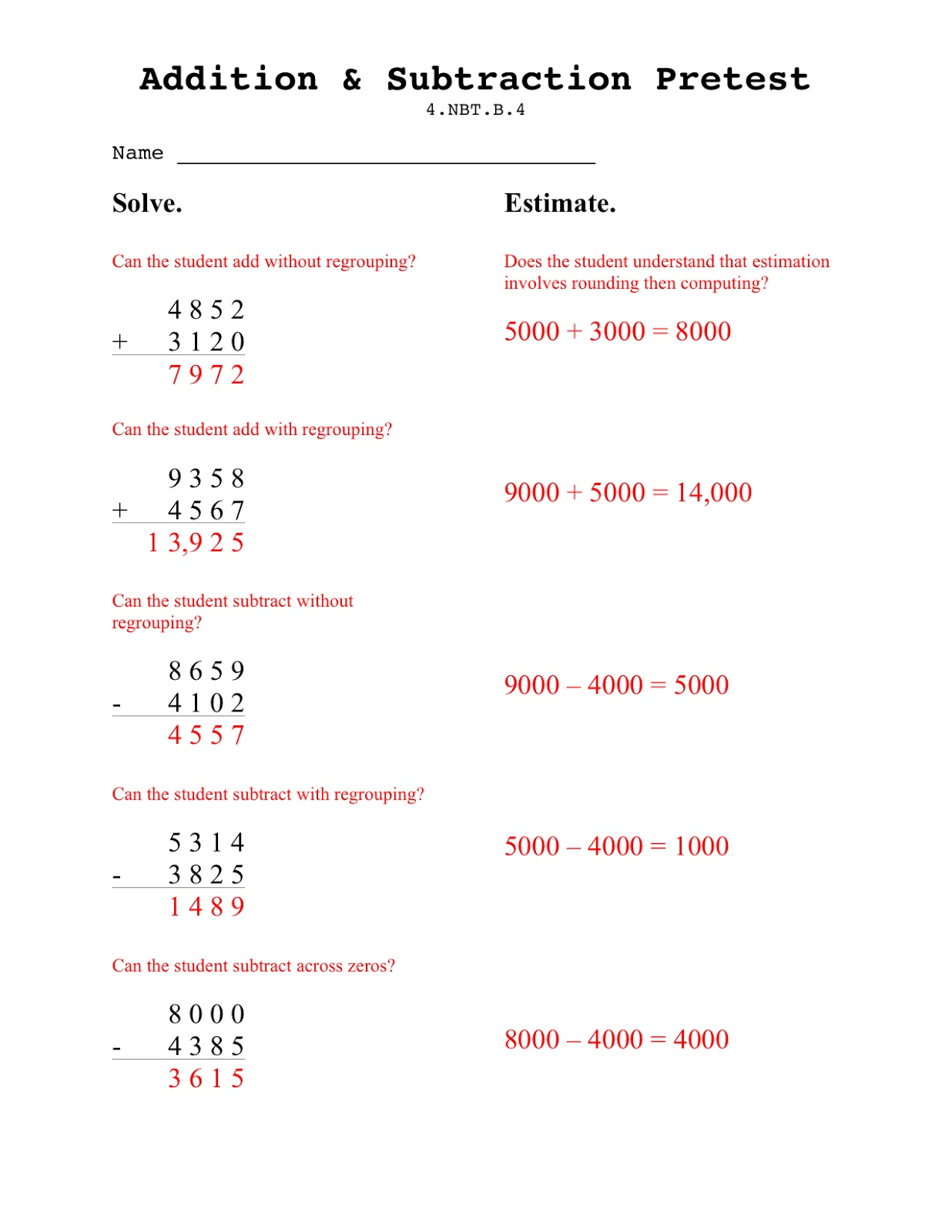 worksheet Subtracting With Zeros teaching seriously assessing addition subtracting for middle grade students