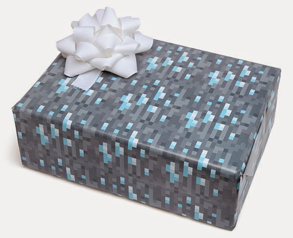 3. Minecraft Diamond Wrapping Paper