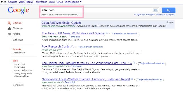 Hasil SERP Google Indonesia untuk Semua Domain .com