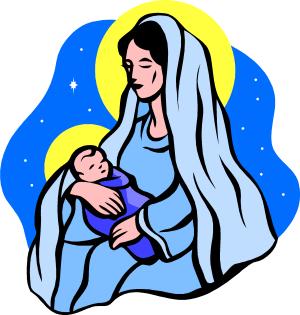 Vierge Marie tenant dans ses bras l'enfant Jésus (illustration)