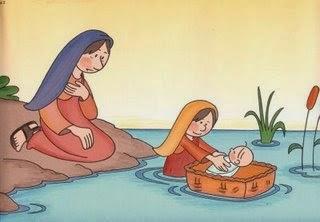 Moisés no rio dentro da cestinha