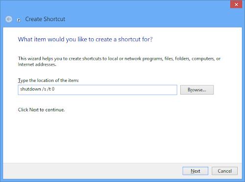 Windows 8 Shutdown Shortcut