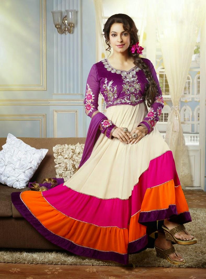 Beauty Miss India Juhi Chawla Anarkali Suit Wallpapers Free Download