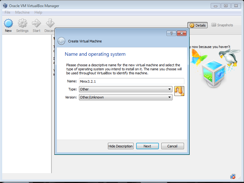 Creating Virtual machine for MINIX 3