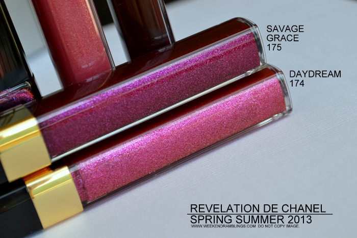 Revlation de Chanel Spring Summer 2013 Makeup Collection - Levres Scintillantes Glossimer Daydream 174 Savage Grace 175 Rose Sauvage 172 Crushed Cherry 176 Swatches Photos Indian Beauty Blog Darker Skin