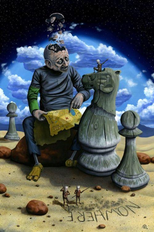 Jeff Christensen js4853 deviantart pinturas surreais sombrias Entre a areia e as estrelas