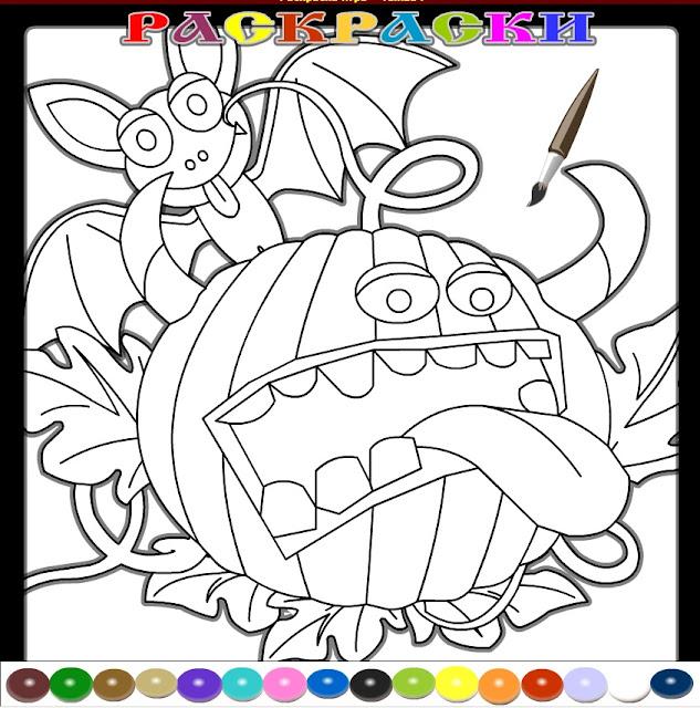 Раскраска тыквы для детей к празднику Хэллоуина