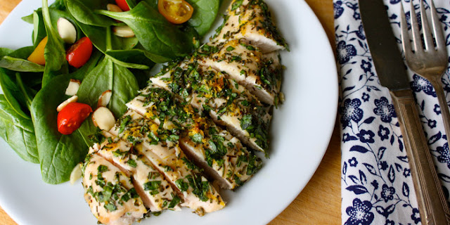 Herb chicken made with made with parsley, rosemary, and lemon zest has tons of fresh flavor. Any fresh herbs can be used in this recipe.