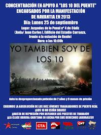 """Concentración de apoyo a """"los 10 del puente"""", lunes 25 de septiembre a las 10 horas en Juzgados de"""