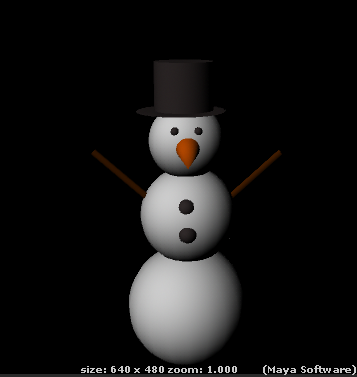 To create this snowman i built and altered basic geometric shapes and