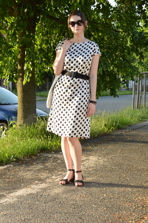 polka dot, Pietro Filipi, thrift store, second hand, silk, black, white