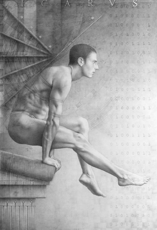Icarus-Suite-Op.369-grafito-y-pan-de-plata-sobre-madera-imprimada-100x146-cm