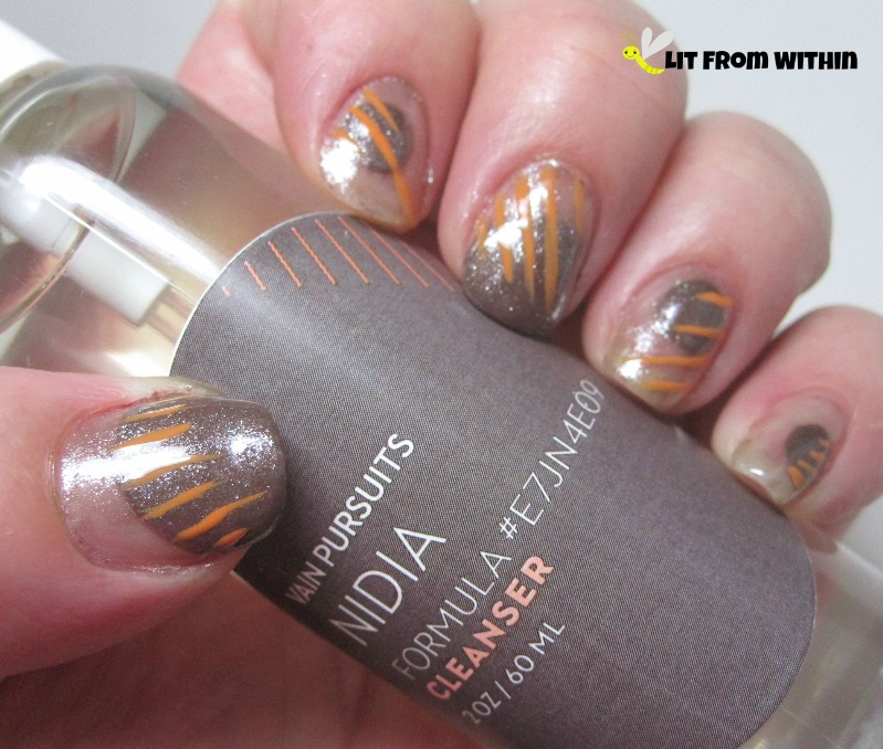 Vain Pursuits nail art - China Glaze Foie Gras, Maybelline Dust of Bronze, and Zoya Arizona.
