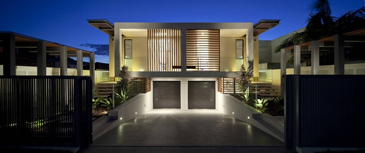 Facade lighting on Portland Street Duplex by MPR Design Group