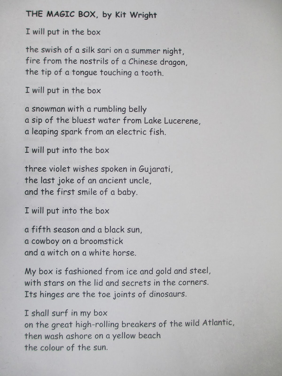 Year 4 Blog: Performing poems: The Magic Box