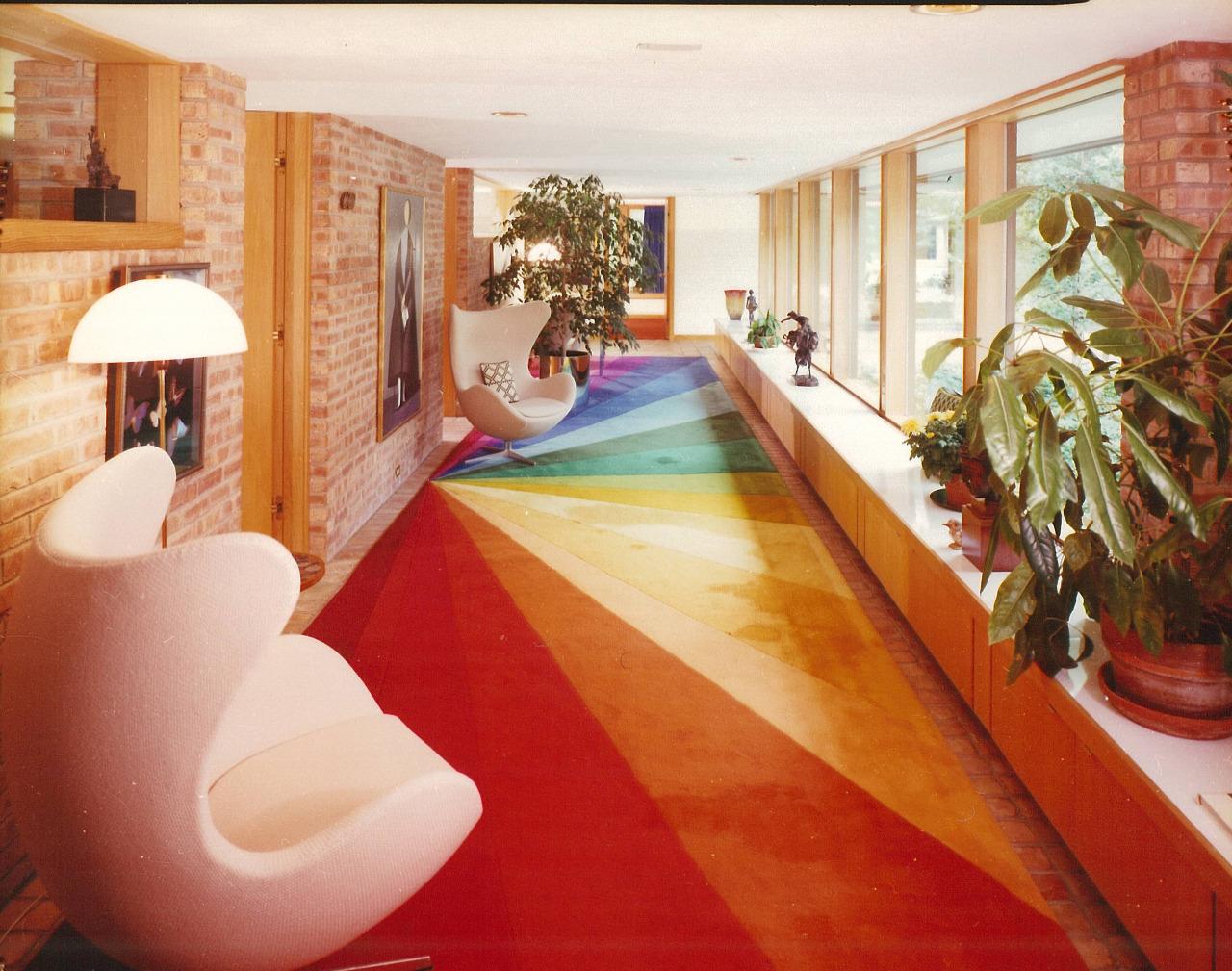 midcentury rainbow rug