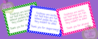 to give thank you notes to our field trip chaperones and bus drivers ...