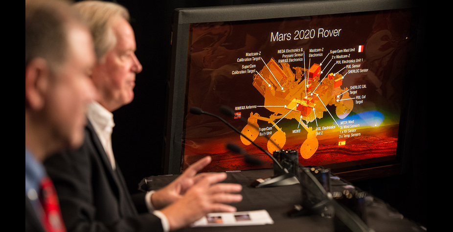 Michael Meyer, lead scientist, Mars Exploration Program, gives remarks during a press briefing where it was announced what instruments will be carried aboard the agency's Mars 2020 mission, Thursday, July 31, 2014 at NASA Headquarters in Washington. Credit: NASA/Bill Ingalls