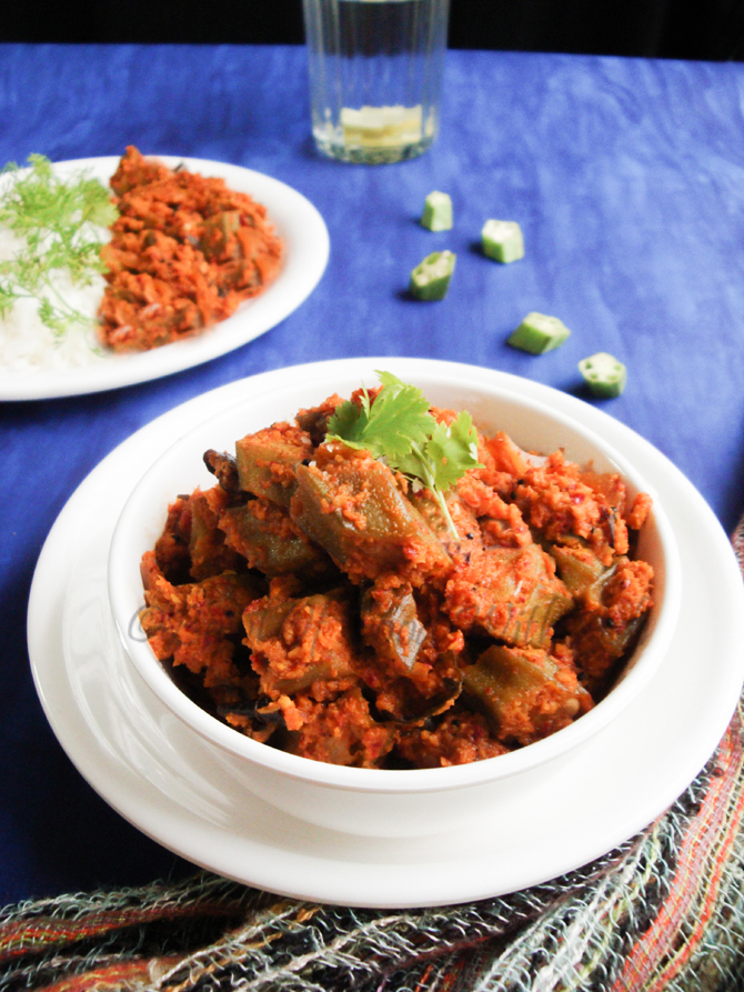 Bowl Of Food With Ash Okra Ladyfinger Coconut Masala