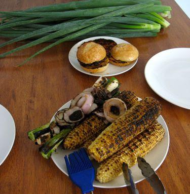 labor day weekend grill: corn, scallions, red onion, lamb burger, chik patty