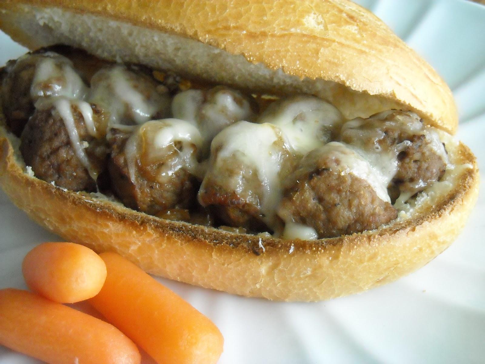 Slow Cooker Bavarian Meatball Sandwich Recipe | Six Sisters' Stuff