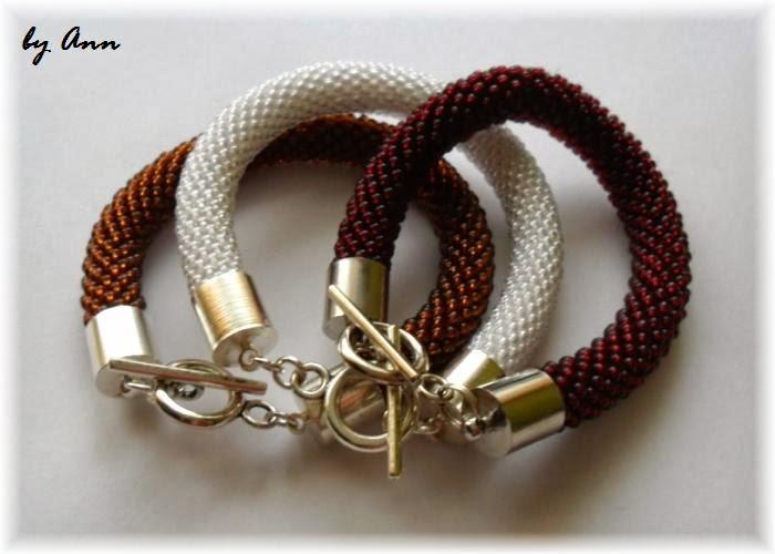 węże koralikowe bransoletka brązowa biała czerwona