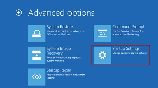choose startup settings for windows 10