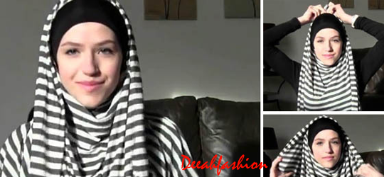 Trend Jilbab Stripes Jilbab Garis Hitam Putih
