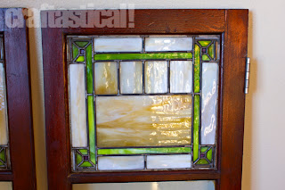 beautiful stained glass in cabinet doors