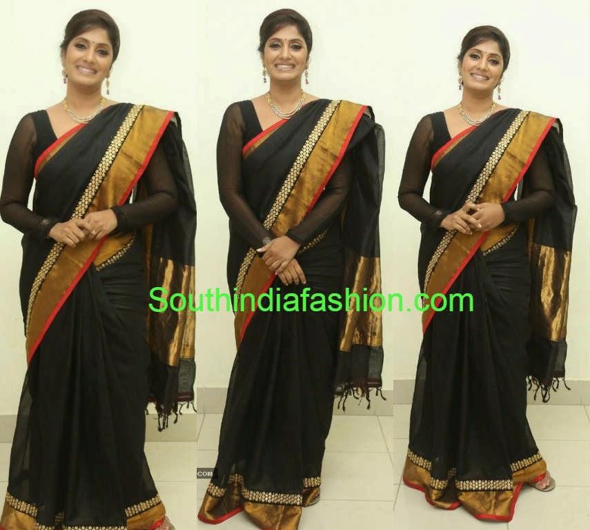 anchor jhansi black saree