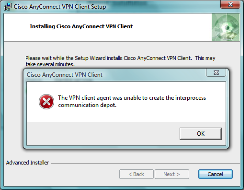 Unable to install cisco vpn on windows 10