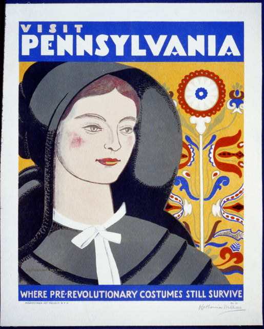 Visit Pennsylvania, Where Pre-Revolutionary Costumes Still Survive - Vintage Travel Poster, advertising, classic posters, free download, graphic design, pennsylvania, poster, retro prints, travel, travel posters, vintage, vintage posters,