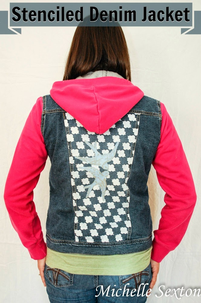 Stencil the back of a denim jacket and create a unique look - click through and learn how at SoHeresMyLife.com