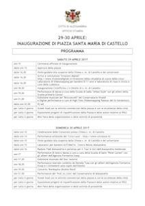 Programma inaugurazione p.za Santa Maria di Castello
