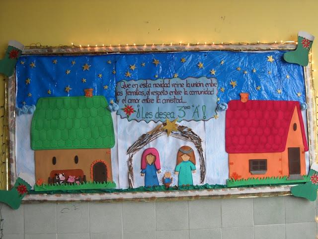 Maestra erika valecillo cartelera nacimiento navidad for Carteleras escolares de reciclaje