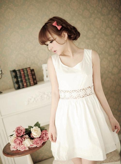 Jual White Dress Cantik Chiffon Murah