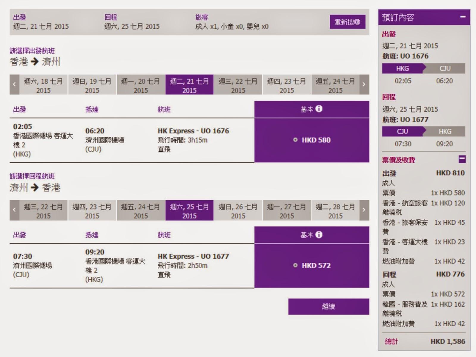 香港往返濟州,單程機位$580(連稅$810),來回機位$1,152(連稅$1,586)