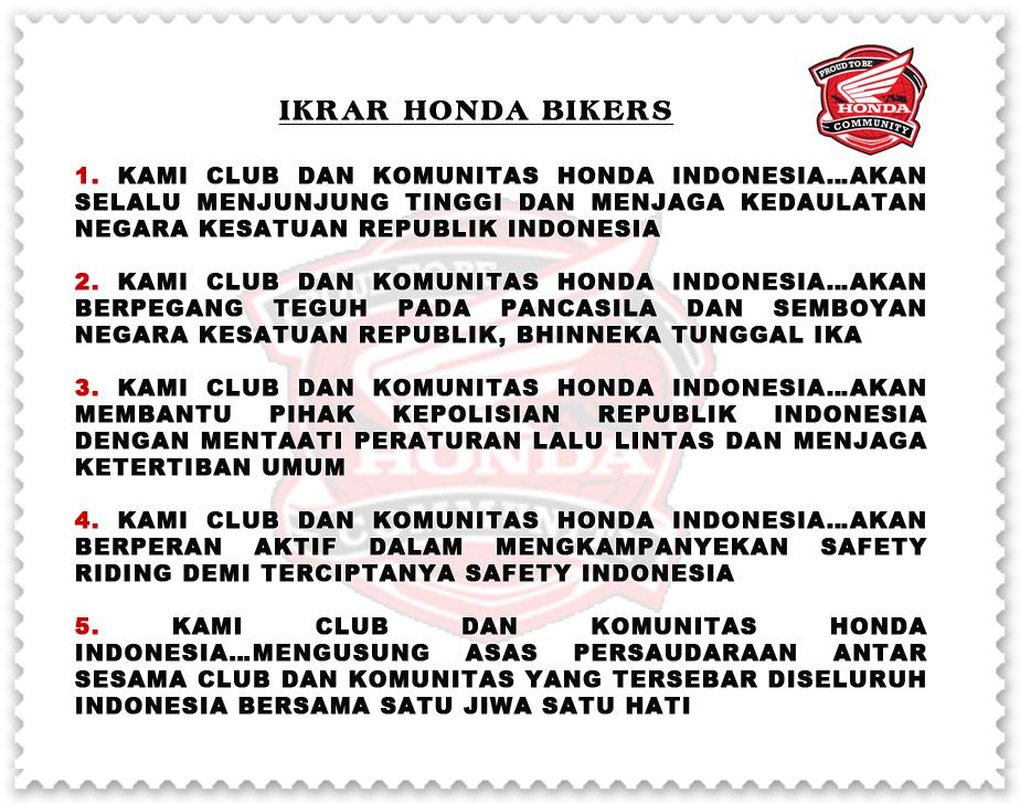 IKRAR HONDA BIKERS indonesia, janji bikers honda