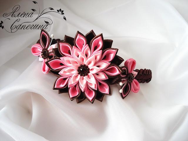 Ободок с цветком из лент своими руками