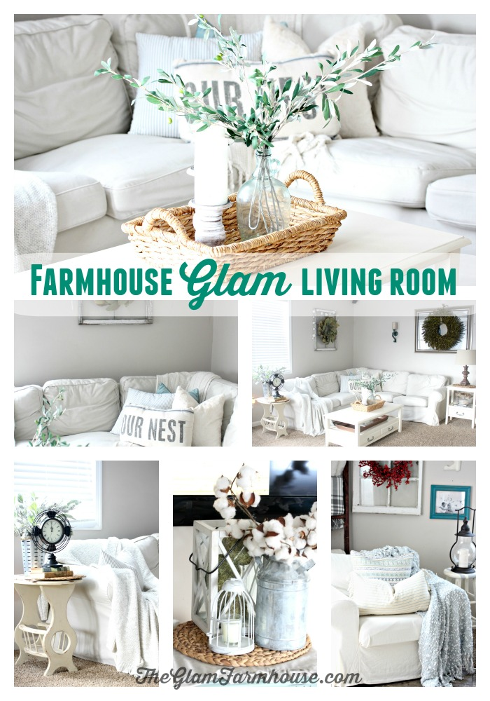 The Glam Farmhouse Living Room Tour - The Glam Farmhouse Farmhouse Living Room Interior Design Ideas With Sectionals Html on