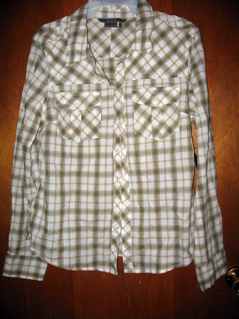 green and white plaid button down