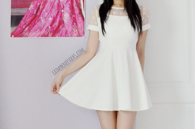 A sweet ulzzang Asian fashion outfit with the Tokyo Fashion Qme white polka dot flare dress from Yumart.