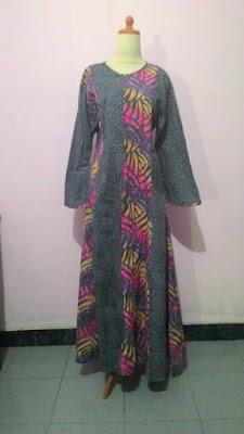 Model Desain Baju Gamis Batik Cap Kombinasi Jumbo