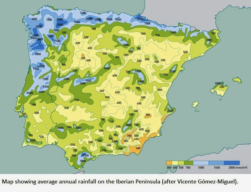Vocabulary Spanish English Climate Soil And Topography In - Portugal rainfall map